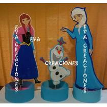 3 Centros De Mesa Frozen Anna Olaf Elsa En Goma Eva