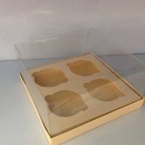 Caixa 4 Cupcakes Base Papel Tampa Acetato C/ 10 Uni