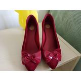Sapato Melissa Veludo E Vinil Vermelho Tam 34