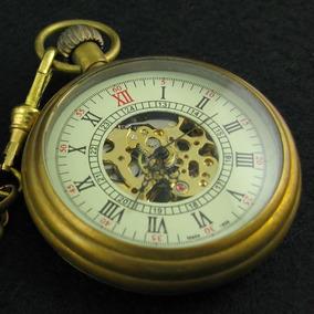 Antiguo Mecánico Bolsillo Reloj Mano Termina En Esqueleto