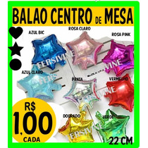 Balão Metalizado Estrela Coraçao Redondo 22cm