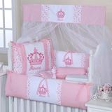 Kit Protetor Berço 9 Peças Coroa Princesa Rosa Branco