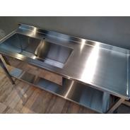 Mesada Bacha Industrial Gastronomia 1.75mt Estante Fabrica