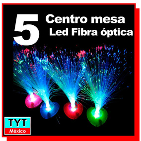 5 Lampara Led Rgb Centro De Mesa Fibra Optica Pilas Party Xv