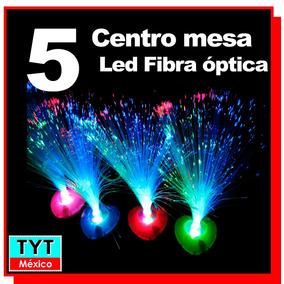 5 Lampara Led Rgb Centro De Mesa Fibra Optica Pilas Party Xv