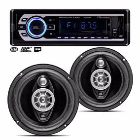 Kit Alto Falantes 6 Pol Jbl 6tr6a + Auto Radio Roadstar Mp3