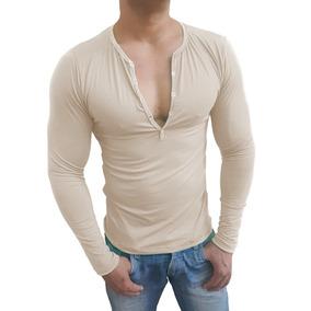 Camisa Henley Masculina Slim Botão Manga Longa