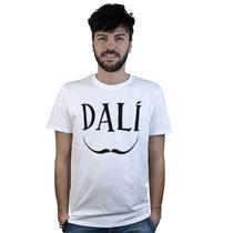 Remera Camiseta Salvador Dalì, En Blanco Con Bigote La Pint