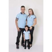 Pais E Filhos Kit 3 Peças Camisas Ou Body Polo Azul Nobreza