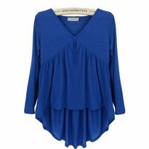 Blusa-tunica Algodon Talla 2xl Color Azul Rey
