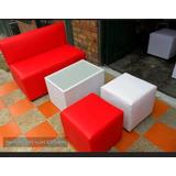 Puff Cubo Rigido Área Lounge Mueble Tapizado Moderno Sala