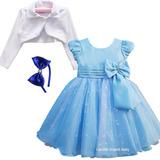 Vestido Infantil Luxo Elsa Alice Cinderela Festa E Bolero