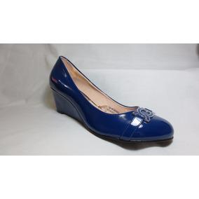 Zapatos Cuña Azul Dama Chabely T37 Y T38
