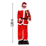 Boneco Natal Papai Noel Musical Com Violino, Dança E Toca