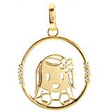 Pingente Menina Vazado Em Ouro 18k Com Diamantes.