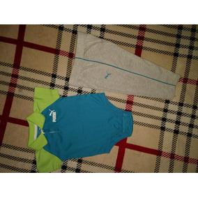 Conjunto Pañalero Tipo Polo Y Pantalón Marca Puma 12 Meses
