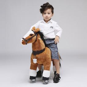 Caballo Pony Montable Ruedas Camina Edad Cafe 3-5
