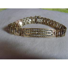 Pesada Esclava Brazalete Pulsera 14k Kt Oro~4.02ct Diamantes