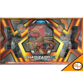 Box Pokémon Charizard-gx Carta Gigante Com Moeda E Broche Ms