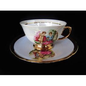 Antiguidade Xícara De Chá Porcelana Ars Bohemia Cena Galante