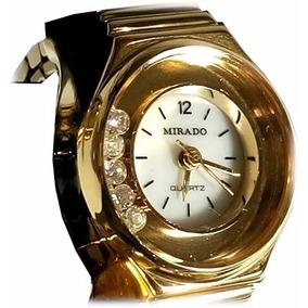 Reloj Anillo De Acero Dorado Para Dama