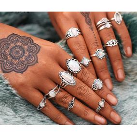 Set 13 Anillos Hippies Boho Middle Ring Moonstone Corona
