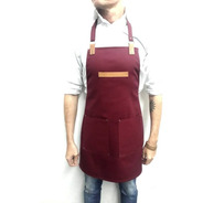 Delantal Gabardina Y Cuero Genuino Cocina Barbería Bartender