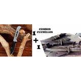 Combo Bayoneta Columbia Tipo Puñal + Navaja Acero Plateada