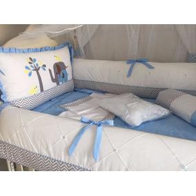 Kit Enxoval Bebe Bichinho Masculino 100% Algodão Azul Claro