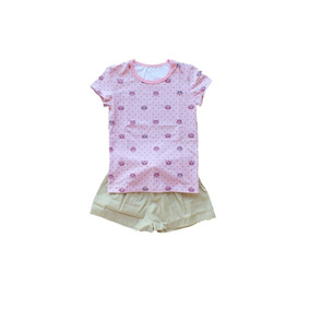 Conjunto Feminino Infantil Short E Camiseta Malwee Rosa