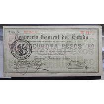 Billete 50 Pesos Tesoreria Gral Del Edo 1913 Chihuahu