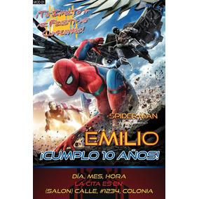 Spiderman Hombre Araña Invitacion Postal 4x6 Personalizada