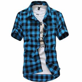 Camisa Xadrez Masculina Slim Fit Manga Curta Importada