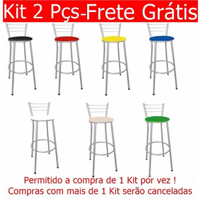 Kit 2 Unid Banqueta Banco Alto Encosto Bar Cozinha - 7 Cores