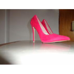 Oferta Solo Hoy!tacones Gamuzados Color Fucsia Marca Glamour
