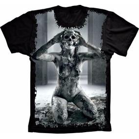 Camiseta Caveira Morte Cabeça Preta Estampada Total Frente 5b35e8800dd