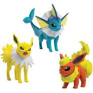 Pokemon - Pack 3 Bonecos Jolteon, Vaporeon E Flareon Tomy