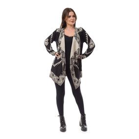Kimono Blusa Feminina Tricot Tricô Bico Geométrica Cardigan