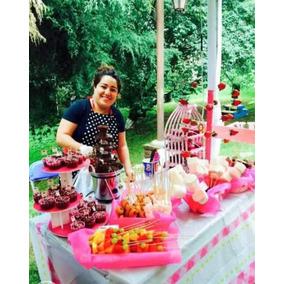 Mesa De Dulces Con Fuentes Chocolate Y Chamoy 50 Personas