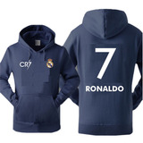 Blusa Moleton Canguru Real Madrid Futebol Cr7 Estampa Costas