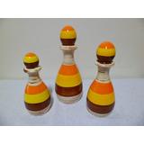Jogo Vasos Em Cerâmica - Amarelo/laranja/marrom/cru