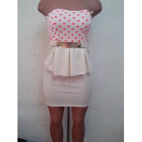 Moda Sexy Mini Vestido Blanco Con Bolitas Straples Y Adorno