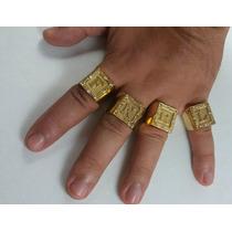 Anel Dedeira Com Pedras Quadrado Letra Nome Banhado Ouro 18k