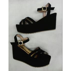 Sandalia De Tiras Negra Plataforma Bajita Para Mujer Señora