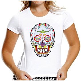 Camiseta Baby Look Caveiras Mexicanas Sugar Skull Mod 7