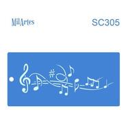 Mil Artes - Stencil Musica 10 X 20cm - Sc305