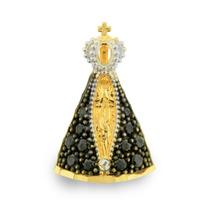 Pingente De Ouro 18k Nossa Senhora Aparecida Safiras - Aubra