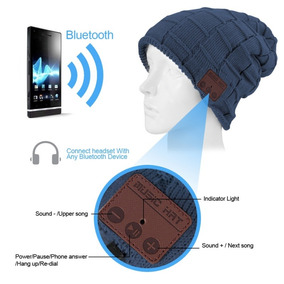 Gorro Tejido Cuadros Unisex Bluetooth Manoslibres(azul)