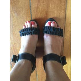Sandália Couro Preta Salto Grosso Confortável Mr.foot 37