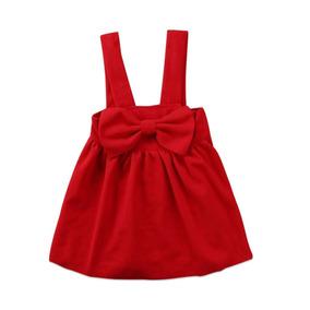 Vestido Rojo Niña Moño Y Tirantes Overol Abrigador Navidad